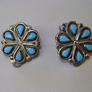 VINTAGE Sterling Zuni Clip Flower Earrings