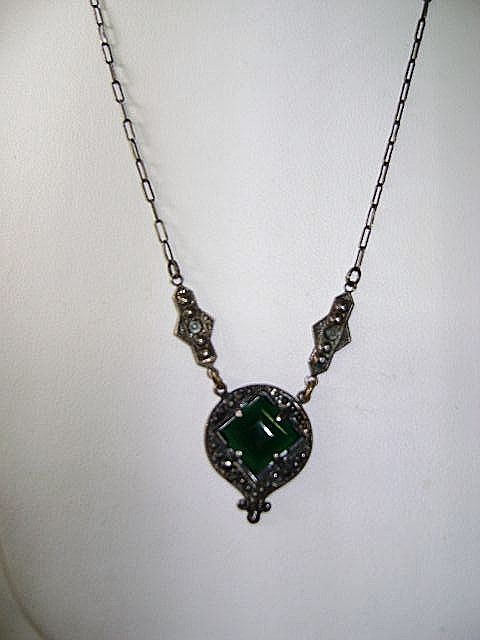 VINTAGE Sterling Art Deco Green  Pendant with Marsite Sets