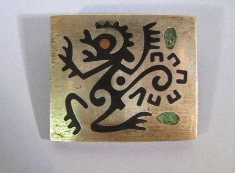 VINTAGE Mexican Sterling Folk Art Cut Out Brooch.  Signed