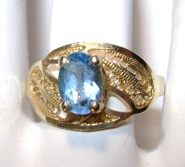 VINTAGE Blue Topaz Filigree Ring 10K and Size tight 8