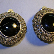 VINTAGE Large Sterling Marsite Onyx Clip Earrings