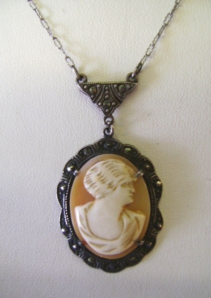 VINTAGE Victorian Shell Cameo With Sterling Chain and Marcasites