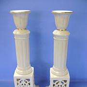 VINTAGE  Two 11 Inch Lenox Porcelain Candlesticks  Pair