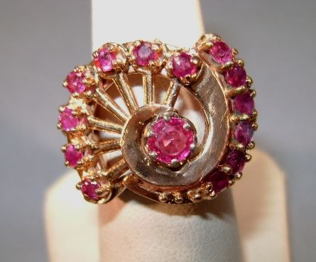 VICTORIAN  14K Tested Rose Gold Ring with 14 Rubies  Size 5 3/4