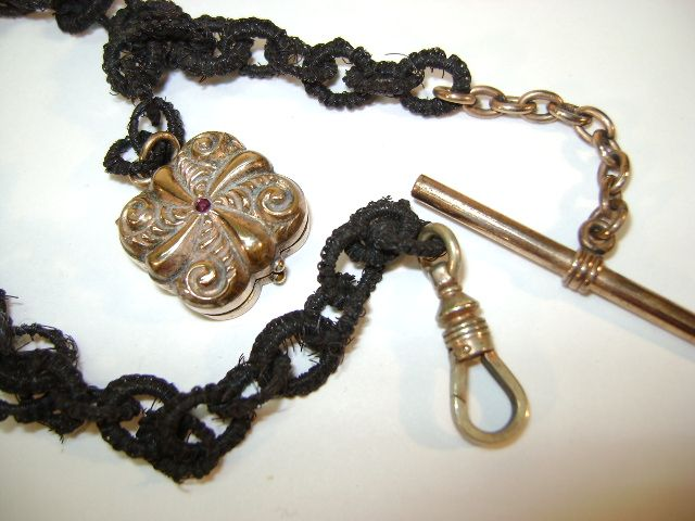 VINTAGE Horse-hair Watch Fob with a Small Ruby and Holder