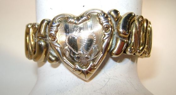VINTAGE 40'S  Heart Expansion Bracelet  Size small
