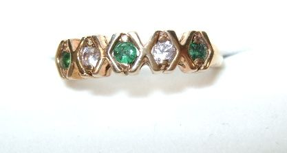 VINTAGE Yellow Gold Two Diamonds and Three Emeralds  10K ring Size 7 1/4