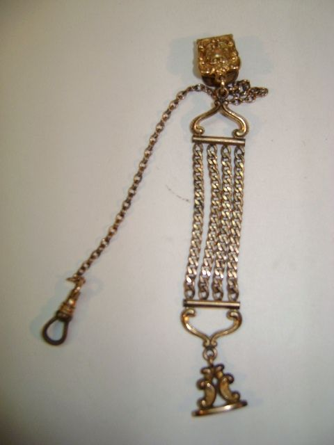 VINTAGE  Vest Watch Chain and Fob  Gold tone Metal