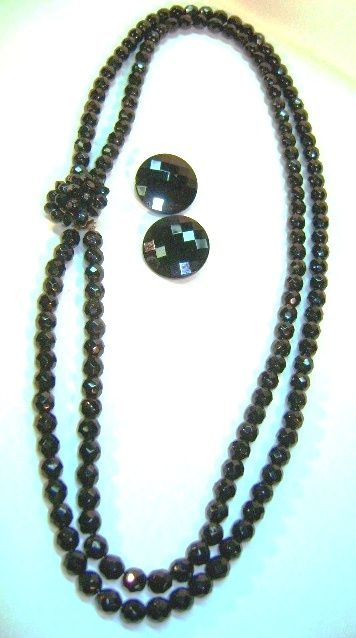 VINTAGE Two Strand Black Glass Necklace and Button Earrings. 22 inches