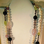 Long Strand of Flapper Beads  Natural gem stones  80'S  56 Inches