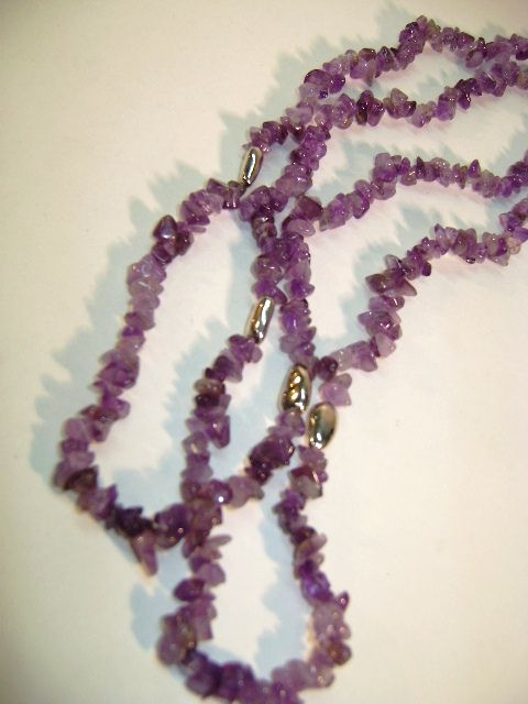 VINTAGE Flapper Style Necklace of Amethyst Tumbled Gem with Silver Colored Beads