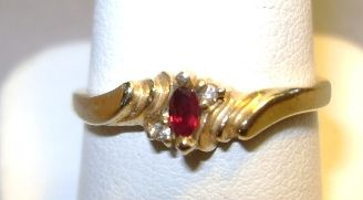 VINTAGE Ruby and Diamond 14 K Gold Ring  Size 8