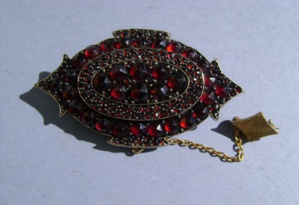 VICTORIAN Bohemian Garnet Brooch with Security Pin.