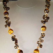Tiger Eye and Apache Tears Necklace with Pendant