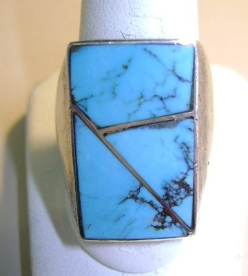 VINTAGE Zuni Channel Work Ring  Size 10 3/4  Sleeping Beauty Turquoise
