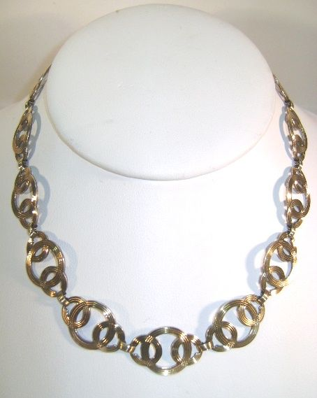 VINTAGE  Symmetalic WRE Interlocking Circles Necklace with 14K Gold Overlay Beautiful