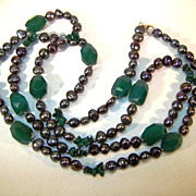 VINTAGE Chrysolite, Fresh Water Pearls and Malachite Very Long Necklace.
