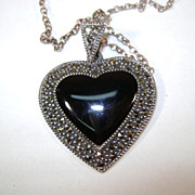 VINTAGE  Sterling Marcsite Onyx Heart on Sterling 17 inch chain