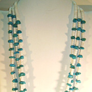 VINTAGE  Three Strand White Shell Heishi and Turquoise Nuggets