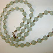 VINTAGE Jade-like Necklace with Gold tone beads