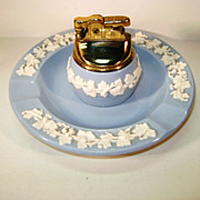 VINTAGE Wedgwood  Embossed Queens Wear Ash Tray and Cigarette Lighter