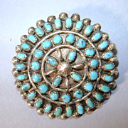 VINTAGE Zuni made Round Turquoise Lapel Brooch
