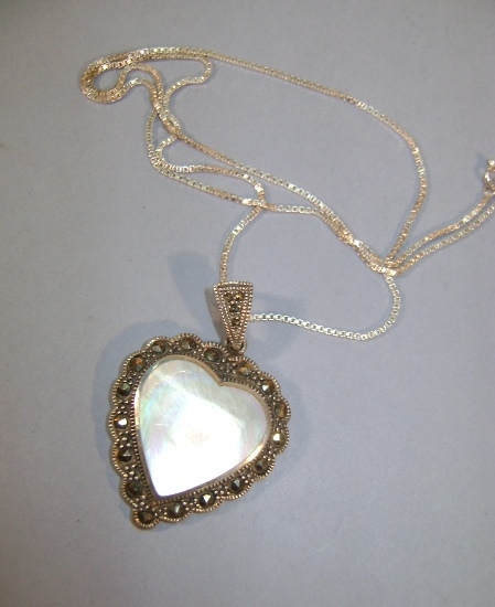 VINTAGE Sterling Mother of Pearl Heart with Surrounding Marcsites