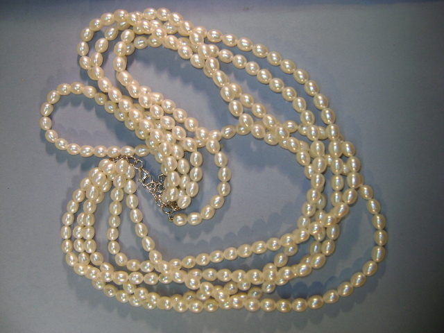 VINTAGE  Five Strands of White Fresh-water pearls 19 inches