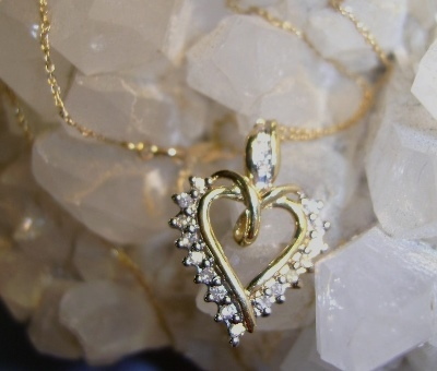 VINTAGE Diamond Heart 14K and 10K 18 Inch Fine Chain