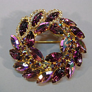 VINTAGE Unsigned Beautiful Purple and Crystal Brooch  Large
