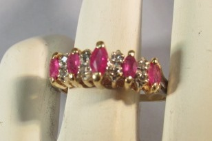 VINTAGE 14K  Ruby and Diamond  Stair-Step Ring  Lovely