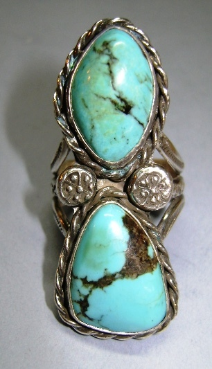 VINTAGE Sterling Navajo Ring Large  Size 10