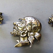VINTAGE Signed Marleen 1940-1941 Sterling Silver Brooch and Earrings