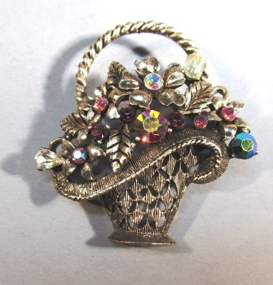 VINTAGE Weiss Basket of Jewels Brooch Larger Version