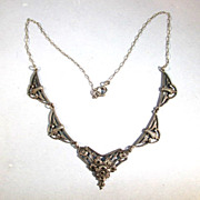 VINTAGE Sterling and Marcsite Necklace  16 inches