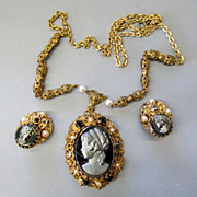 VINTAGE West Germany Cameo Jewelry Necklace and Earrings