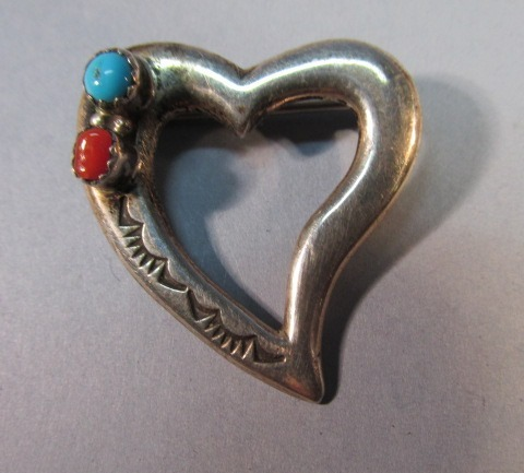 VINTAGE Sterling Heart with Coral and Turquoise Lapel Pin