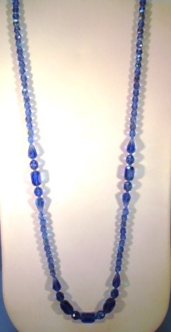 VINTAGE 27 Inch Blue Glass Aurora Borealis Necklace