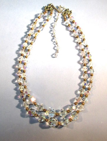 VINTAGE Two Strand Crystal Faceted Bead with Brass Spacers