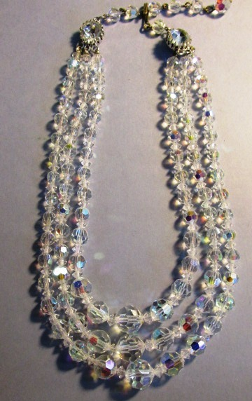 VINTAGE Aurora Borelis Crystal Three Strand Necklace 40'S