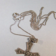 VINTAGE  Sterling and Marcsite Cross and Necklace