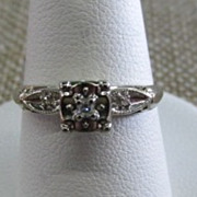 VINTAGE  50'S  White Gold Small Diamond Ring  Size 6  3/4