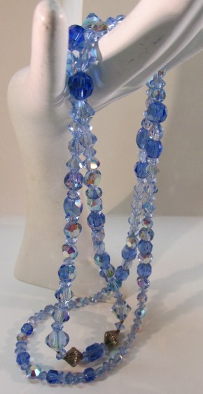 VINTAGE Glass Long Strand Aurora Borealis Blue Beads