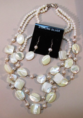 VINTAGE Mother of Pearl Necklace and Earrings with Sterling Chain