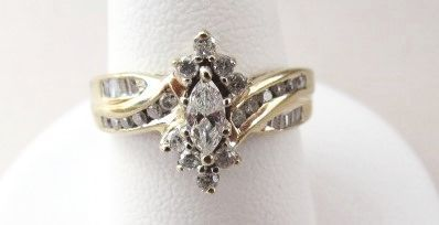 VINTAGE Marquise Diamond Anniversary Ring 65CTW Size 7 1/2
