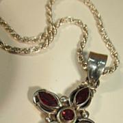 VINTAGE Garnet Sterling Cross and Sterling 20 Chain