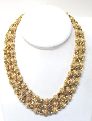 VINTAGE Trifari Three Strand  Gold Colored Metal Necklace  16 Inch