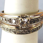 VINTAGE White Gold Wedding Set  Nice Diamonds Tested 14K