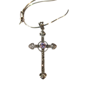 VINTAGE 2 Inch Cross with Amethyst Gem and Marcsites