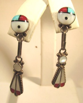 VINTAGE Zuni Long Sun-Face Earrings